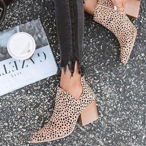 Shoes - Tan Cheetah Side Cut Out Panel Booties